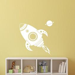 Imprinted Designs Spaceship Rocket with Planet Wall Decal St