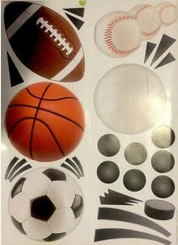 SPORTS wall stickers 24 big decals decor baseball soccer foo