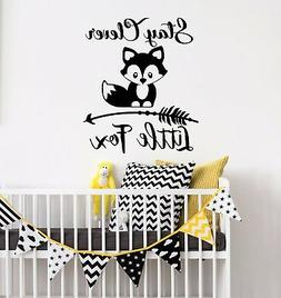 Stay Clever Little Fox Wall Decals Nursery Vinyl Quotes Rust