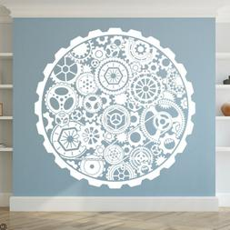 Steampunk Circle Gears Vinyl Wall Decal for bedrooms, living