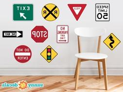 Street Signs Fabric Wall Decals with Stop Sign, Yield, Exit,