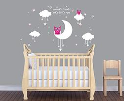 LUCKKYY Sweet Dreams My Little Owl Wall Decal Vinyl Wall Sti