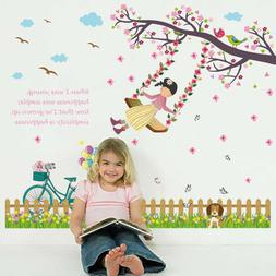 Swing Girl Wall Stickers For Kids Rooms Nursery Baby Girl's