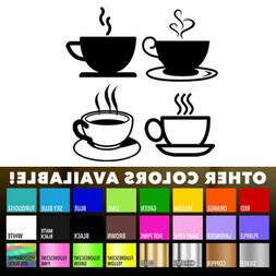 Tea Coffee Cups for Kitchen Wall Shop Sticker Wall Art Windo