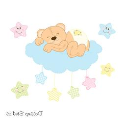 Teddy Bear Mural Wall Decals Baby Neutral Woodland Animals N