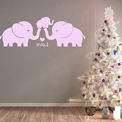 MAFENT Three Cute Elephant Family Wall Decal With Love Heart