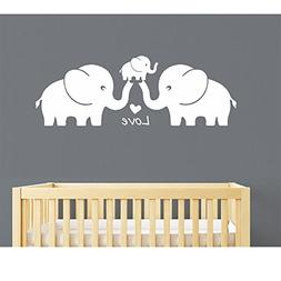 Three Cute Elephants Family Wall Decal Love Hearts Family Wo