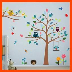 Timber Artbox Cheerful Nursery Wall Decals with Owls & Tree