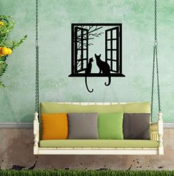 BIBITIME Tree Branch Fake Window Black Cats Wall Art Sticker