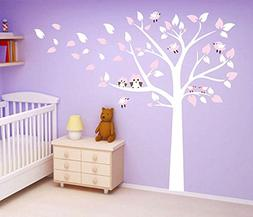 ufengke Large Tree Cute Owls Wall Decals, Children's Room Nu