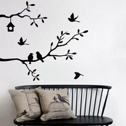 Tree Leaves Flowers Decor Removable Wall Sticker Bedroom Bac