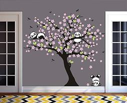 MAFENT Tree Wall Decals for Kids Room with Three Little Pand