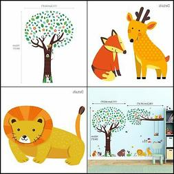 Tree with Animal Friends & Branch with Owls Wall Decals Stic