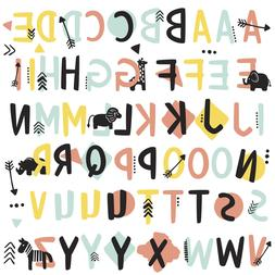 TRIBAL ALPHABET WALL DECALS 66 Alphabet Stickers Kids Toddle