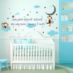 Twinkle Twinkle Little Star Quote Monkey Vinyl Wall Sticker