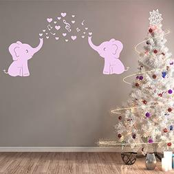Two Elephants Family Wall Decal With Love Hearts Music Notes