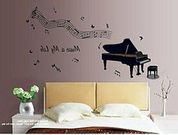 ufengke® Black Piano and Musical Notes Wall Decals, Living