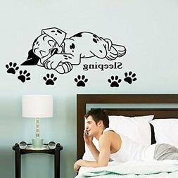 ufengke Cartoon Cute Sleeping Puppy Dog Paw Prints Wall Deca
