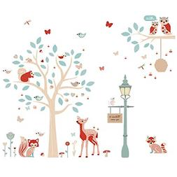 ufengke forest animals wall stickers tree deer