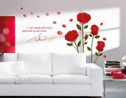 UfingoDecor Red Rose Removable Wall Stickers Murals for Livi
