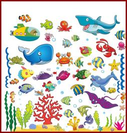 Under The Sea Stickers For Kids Fish Wall Decals Toddlers'