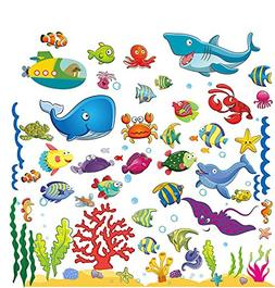 Under The Sea Stickers for Kids, Fish Wall Decals for Toddle