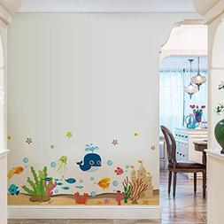 BIBITIME Underwater World Wall Stickers Coral Algae Beach Ca