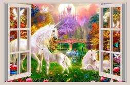 Unicorn Fantasy Window View Decal WALL STICKER Art Mural Leg