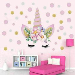 Unicorn Flower Dot Art Wall Sticker Girls Bedroom Kids Nurse