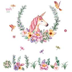 unicorn wall decals removable flowers wall stickers