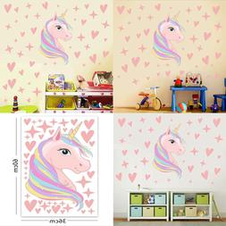 Unicorn Wall Decals Stars Love Hearts Stickers For Baby Girl