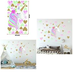 Unicorn Wall Decals,Unicorn Wall Sticker Decor with Heart Fl