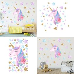 Unicorn Wall Stickers RAINBOW Colors Decals Reflective For G