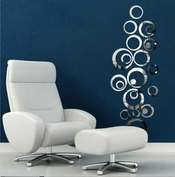 US 3D Circle Mirror Wall Sticker Removable Decal Acrylic Art