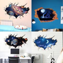 US 3D Outer Space Wall Stickers Mural Art Removable Wall Dec