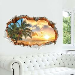 US 3D Wall Stickers Beach Palm Tree Window Room Decal Wallpa