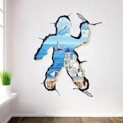 US 3D Wall Stickers Body Shape Clouds Cartoon Room Decal Wal