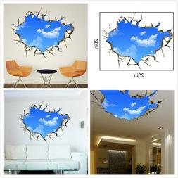 US 3D Wall Stickers Sky Clouds Cartoon Room Decal Wallpaper
