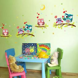 US Cartoon Art Owl Animal Wall Stickers Baby Kids  Bedroom N