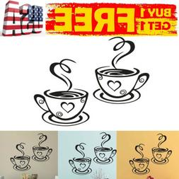 US Coffee Cups Kitchen Wall Stickers Cafe Vinyl Art Decals P