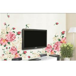 US* Pink Peony Rose Flower Blossom Wall Stickers Kids Baby R
