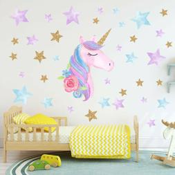 US Rainbow Unicorn Wall Sticker Girls Bedroom Wall Decal Art