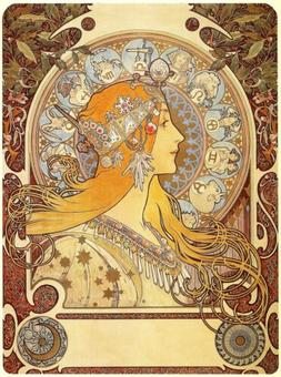 US SELLER- discount wall decals zodiac 1896 Alphonse Mucha a