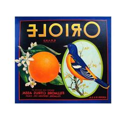 US Seller, Oriole Oranges crate label art poster wall decals