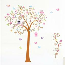 US STOCK Removable Wall Sticker Owl Tree Decal For Kids Nurs