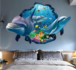 US STOCK Wall decal Sticker Ceiling Floor Dolphin 3D living
