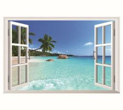 US STOCK Wall Sticker 3D Window Hawaii Beach Living Room Bed