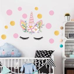 US Unicorn Wall Art Dots Stickers Girl Bedroom Home Room Doo