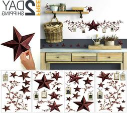 US Wall Decal Country Stars and Berries Peel and Stick Decal