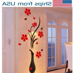 USA Removable Acrylic 3D Flower Vase Wall Sticker Art Mural